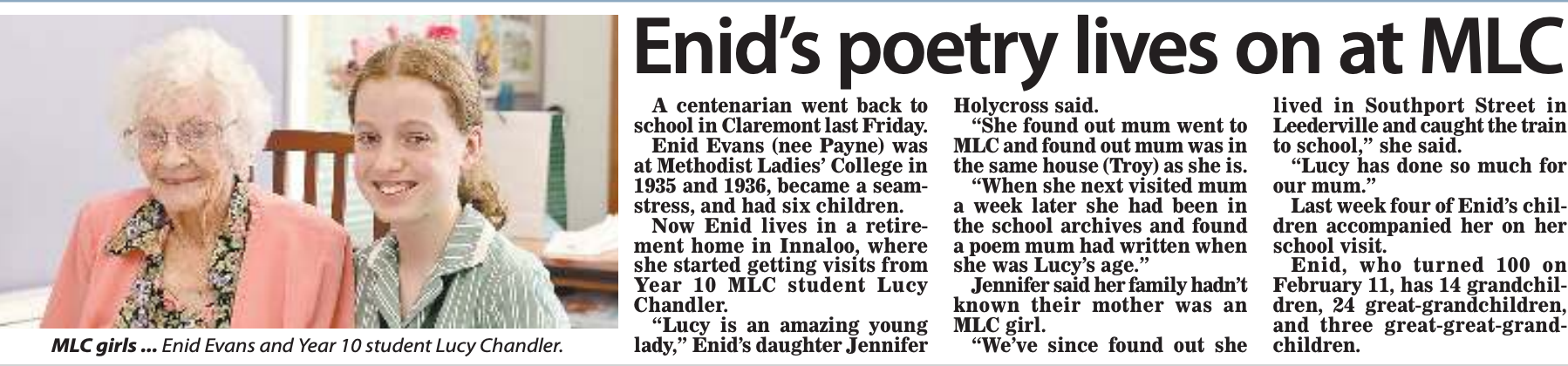 Enid's Poetry Lives on at MLC
