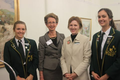 Head Prefect 2013 Ali Angeloni, Justice Lindy Jenkins, Ms Cody and Deputy Head Prefect 2013 Georgie Carey.