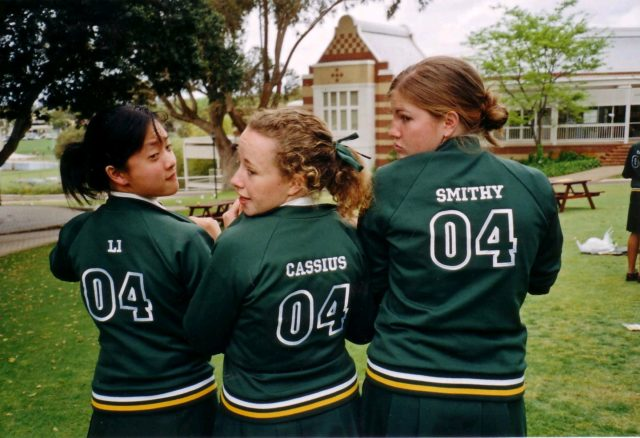 2004-Alex-Cassie-at-school-with-Li-xia-Tan-and-Sophie-Smith