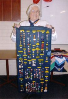 Jean with badge collection